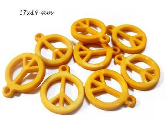 Set of 4 charms Peace and Love mustard color