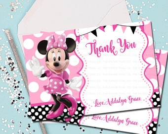 MINNIE MOUSE Thank You Note, 4x6 Thank You Note, Thank You Card, Minnie Mouse, Pink, Minnie Mouse Thank You Card, Thank You Note, Printable