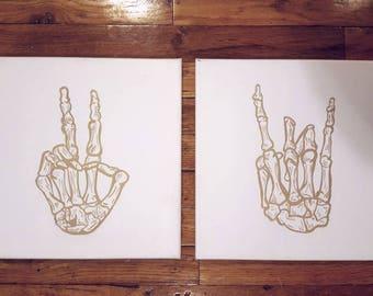 Skeleton Rock Hand, Peace Sign, White and Gold, Music Gifts, Skeleton Decor, Skull Decor, Punk Rock, Alt Decor, Girly Skulls, Music Canvas