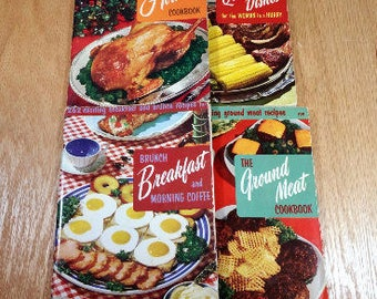 4 RETRO COOKBOOKs 1950s Mid Century Vintage Cook Books Gift for Bride Gift for Cook Holiday, Breakfast, Hamburger, Quick Easy Recipe