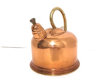 Vintage Tea Kettle Copper Tea Kettle Whistling Tea Kettle Copper Teapot Copper Tea Pot Mid Century Tea Kettle Copper Decor Vintage Kitchen