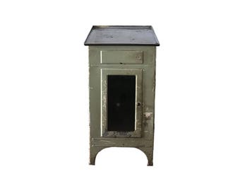 Vintage Green Metal Medical Cabinet