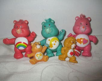 Care Bears Figures Set of Five Includes, Wish Bear, Love a Lot, Cheer Bear (1983)