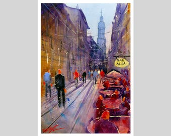 Fine Art Print of My Spanish Street Watercolour Painting Signed Cityscape Scene Urban Giclee High Quality Vibrant Impressionist Landscape
