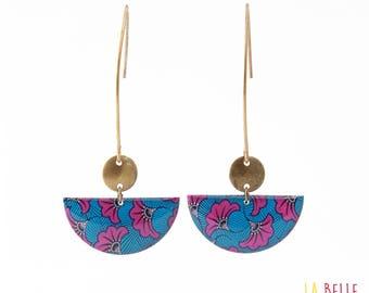 Earrings hook half moon pattern blue and purple wax