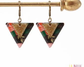 Resin flower pattern black and triangle enamel earrings glitter