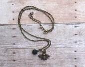 Bee Dainty Bronze Antique Bronze Essential Oil Diffuser Pendant Necklace Lava Stone Necklace Essential Oil Necklace Diffuser Necklace