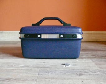 Navy Blue Samsonite Train Case, Carry Pak II, Two Keys Mirror, Travel Makeup Carry Case, Vanity Case, Retro Storage, Wedding Card Case