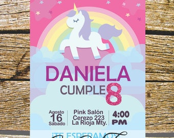 Invitation birthday Digital Unicorn, customizable in Spanish or English, pink, Rainbow.