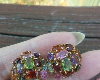 18k Gold Multi Color Gemstones Earrings