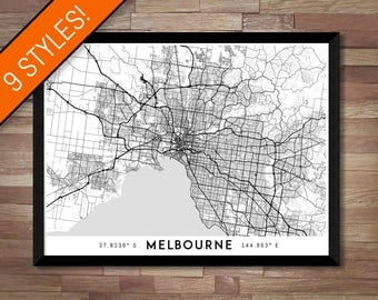 Every Road in Melbourne map art | Printable Australia map print, Melbourne print, Melbourne poster, Melbourne art, Melbourne wall art map