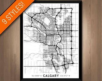 Every Road in Calgary map art | High-res digital Calgary map print, Calgary print, Calgary poster, Calgary art, Wall art, Alberta Canada map