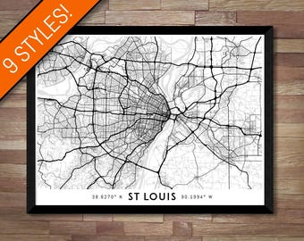 Every Road in St Louis map art | Printable St Louis map print, St Louis print, St Louis poster, St Louis art, St Louis wall art Missouri map