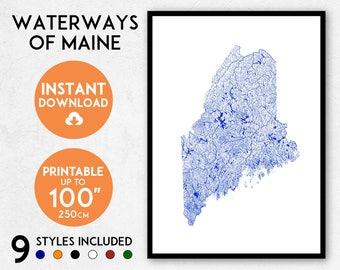 Maine map print, Printable Maine map art, Maine print, USA map, Maine art, Maine poster, Maine wall art, Maine gift, Map of Maine rivers