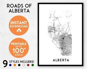 Alberta map print, Printable Alberta map art, Alberta print, Canada map, Alberta art, Alberta poster, Alberta wall art print, Alberta gift