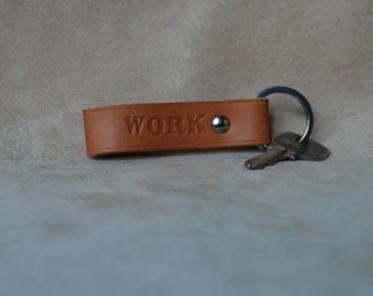 """WORK"" leather key holder"