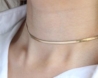 Gold Snake Chain Choker Necklace / Gold Snake choker necklace