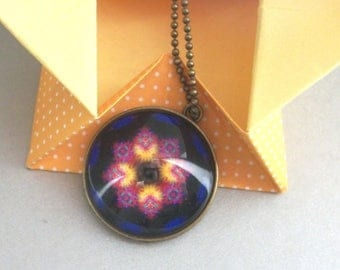 Double-sided Creativity Mandala Necklace Deep Blue Purple Hippie