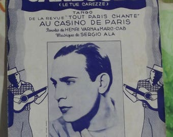 Vintage French song by 1936 Sheet Music - the Secret of your touch, to kill him carezze Tango by Tino Rossi