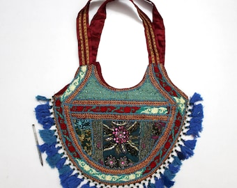 Handmade Ethnic Designer Tribal Banjara Patchwork Embroidered Hippy Fashionable Stylish Trendy Hippie Gypsy Boho Bohemian Shopper Bag F170