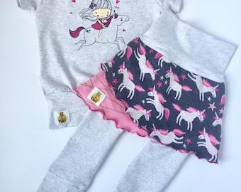 Grow with me set, ensemble évolutif, licorne, unicorn shirt, unicorn skirt, jupe évolutive, pantalon evolutif, grow with me pants
