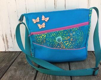 Blue Batik Cotton Duck Crossbody Bag