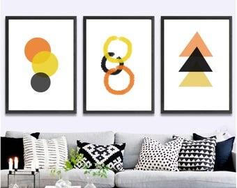 Set of 3 Printable wall art set Digital Prints geometric print decor