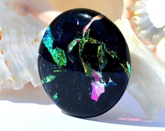 Dichroic Fused Glass Cabochons | Black Pink Metallic Iridescent Round Glass Cab | Wire Wrapping Pendant Supplies - Necklace | FREE SHIPPING