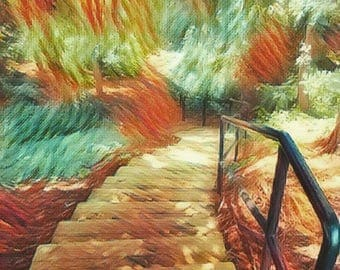 Natural Wood Stairway To Forest, Wall Art, Calm Tranquil Hiking, Beautiful Color Staircase, Painting Reproduction