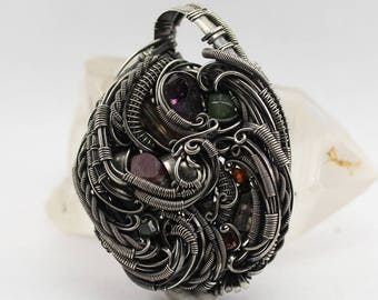 Pendant oxidized sterling silver with ruby, amethyst, garnet, tourmaline