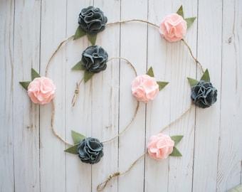 Felt Flower Hanging Garland (Felt Flower Vine) Custom Colors: Garden Party Home Decor - Baby Shower or One Year Garland- Wedding Decor