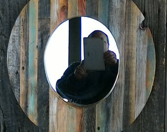 Reclaimed Lumber Oval Mirror