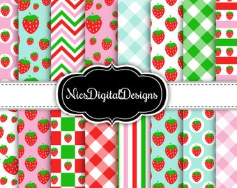 Buy 2 Get 1 Free-16 Digital Papers. Strawberry Mixed Patterns (3C no 2) for Personal Use and Small Commercial Use Scrapbooking