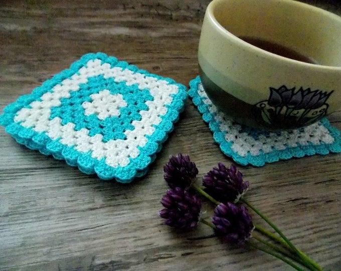 Blue white lace napkin crochet lace doily set of 4 crocheted decoration crochet table decorative crochet ornaments