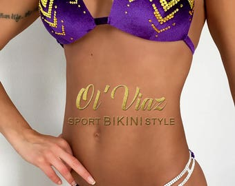 Luxury Purple Velvet Competition Bikini with Crystals/Competition Suit/Posing Suit/Rhinestone Fitness