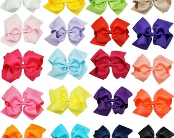 "6"" Grosgrain Hair Bows, Double Stacked Full Bow,  1 3/4"" Alligator Clip, Girls Hair Clips, Toddler Hair Bows, 20 Colors, Girls Hair Bows"