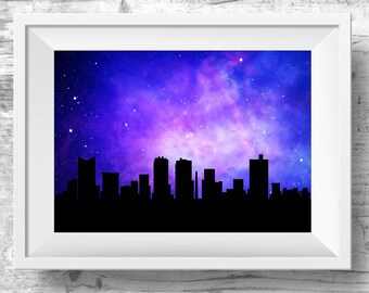 Fort Worth Skyline, Fort Worth Texas Cityscape, Skyline Poster, Instant Download, Printable Art