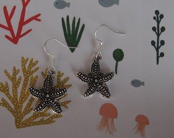 Earrings starfish silver