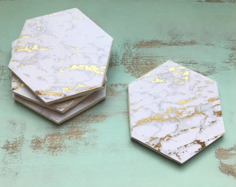 Coasters, Gold and White Coasters, Decorative Coasters, Set of 4 Coasters, Tile Coasters, Drink Coasters, Ceramic Coasters, Marble Coasters