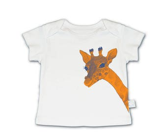hipster baby tshirt, giraffe baby, Trendy baby clothes, organic baby gifts, watercolor baby animal, cool baby clothes, organic baby clothes