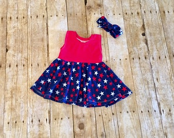 4th of July outfit // patriotic top // patriotic dress // red white and blue dress