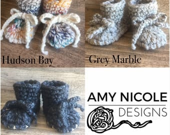 Suede Bottom Crochet Booties - pick your size & colour - made to order, chunky knit, slippers, leather option, tied, toddler, baby