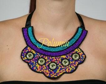Colorful Beaded Bib necklace,statement Necklace, Satin ribbon,Bridal Jewelry, Boho jewelry,African jewelry,mixed beads,Beaded Necklaces