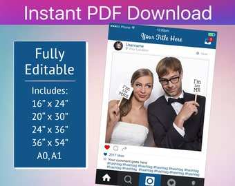 Instagram Frame, Instagram Photo Booth , Instagram Photo Booth Frame, Instagram, Instagram Cutout, Editable PDF File