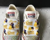 Bling Customised Beauty and the Beast Yellow Infants CONVERSE All Star Trainers 310