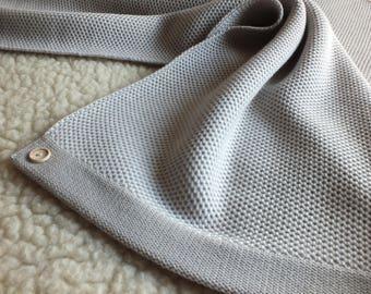 Light grey merino wool baby blanket-Natural baby blanket-Newborn blanket-Pattern throw