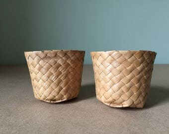 1960s Tiny Woven Baskets Cup Shaped Baskets for Potted Plants