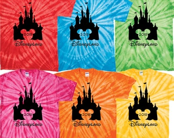 Disneyland matching tie dye t shirt family vacation bright colors California Adventure 2018 star wars galaxy's edge the haunted mansion