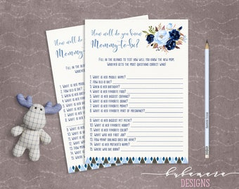 Blue Floral Baby Shower How well do you know Mom Game Boy Baby Digital Tribal Aztec Shower Trivia Boy Printable Quiz Card Baby Game - CG008