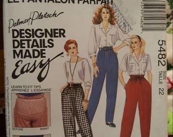 Mccalls 5482 size 22 vintage yr  1991